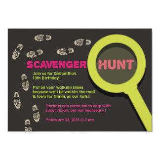 "Cool Scavenger Hunt Invitation 5"" X 7"" Invitation Card"