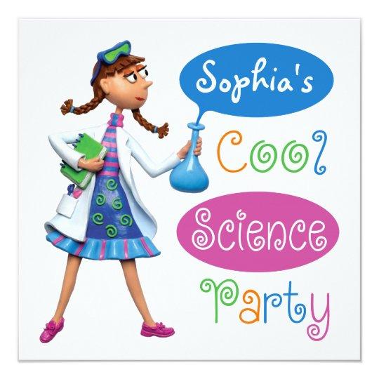 cool science birthday party for girls invitation