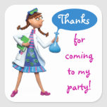 Cool Science Birthday Party for Girls Square Sticker