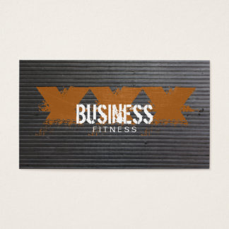 Cool Scratched Metal Stripes Fitness Training Business Card