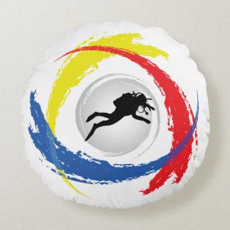 Cool Scuba Diving Diver Tricolor Emblem Round Pillow