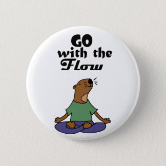 Cool Sea Otter Yoga Cartoon says Go with the Flow Pinback Button
