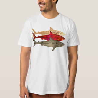 cool sea style sharks white T-Shirt