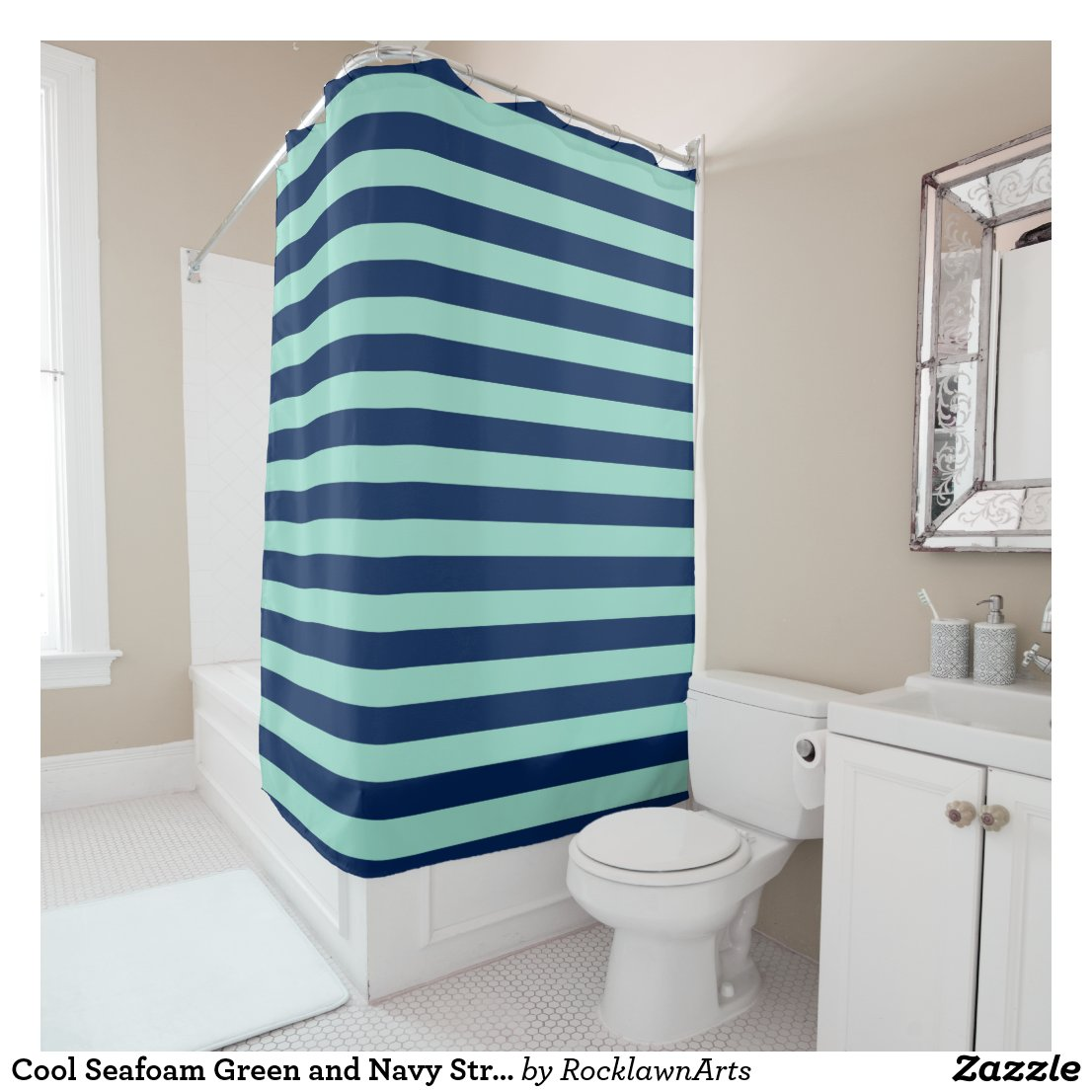 Cool Seafoam Green and Navy Stripes Shower Curtain
