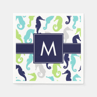 Cool Seahorses Monogrammed Paper Napkin