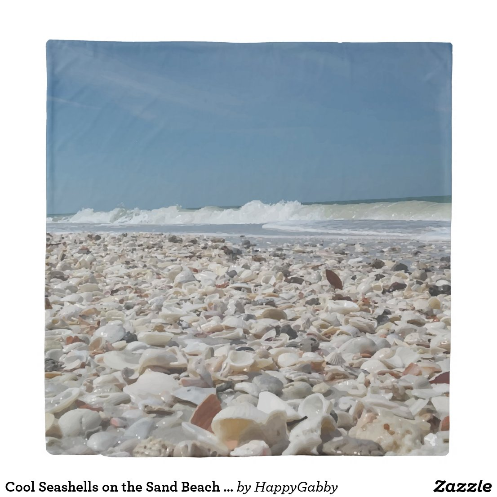 Cool Seashells on the Sand Beach Photo Duvet Cover