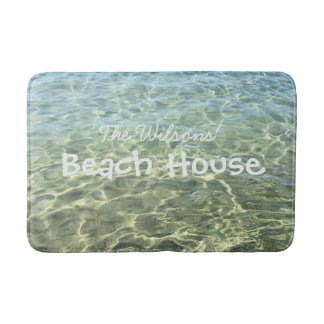 Cool Seawater Beach House Personalized Bath Mat