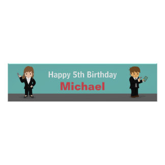 Cool Secret Agent Kids Birthday Party Banner Poster
