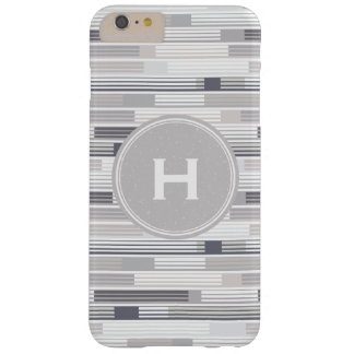 Cool shades of grey stripes Custom Monogram Barely There iPhone 6 Plus Case