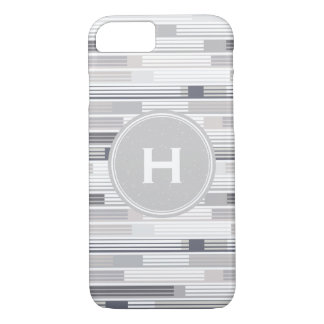 Cool shades of grey stripes Custom Monogram iPhone 8/7 Case