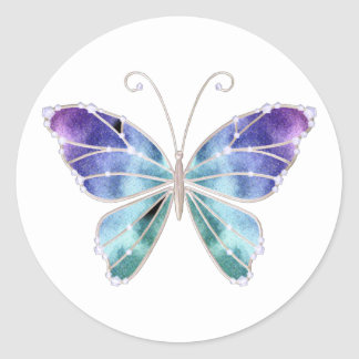 Cool Shades Rainbow Wings Butterfly Classic Round Sticker