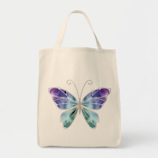 Cool Shades Rainbow Wings Butterfly Grocery Tote Bag