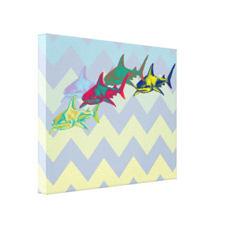 cool shark on chevron canvas print