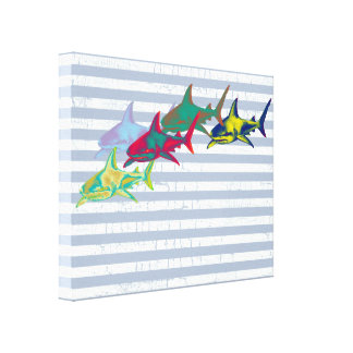 cool shark on white stripes stretched canvas print