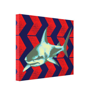 cool shark & red arrows stretched canvas prints