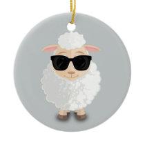 Cool Sheep Ceramic Ornament