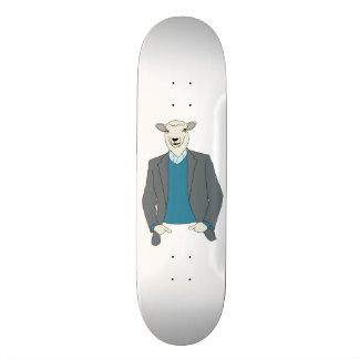 Cool Sheep Head Man in a Suit Skateboard Deck
