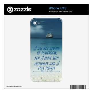 Cool Ship On Ocean Positive Quote iPhone 4 Skins
