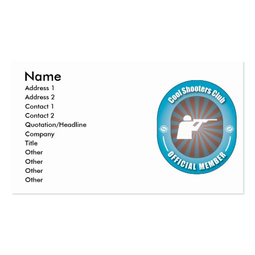 Cool Shooters Club Business Card Template