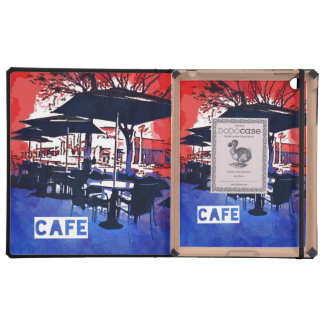 Cool Sidewalk Cafe Red Blue Pop Art Design iPad Covers
