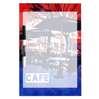 Cool Sidewalk Cafe Red Blue Pop Art Design Dry-Erase Board