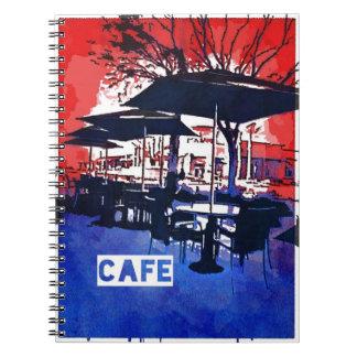 Cool Sidewalk Cafe Red Blue Pop Art Design Spiral Notebook
