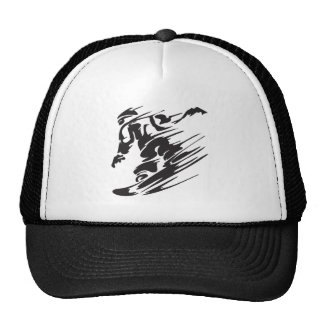 Cool Silhouette Snowboarding Mountain Hat