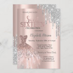 "Cool Silver Glitter Drips,Dress Rose Gold Sweet 16 Invitation<br><div class=""desc"">Elegant silver dress and silver glitter drips on a rose gold background.</div>"