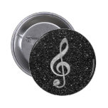 Cool silver glitter shining effects treble clef 2 inch round button
