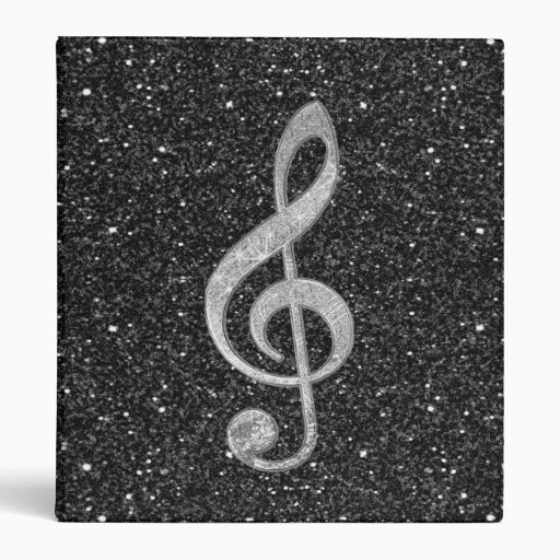 Cool silver glitter shining effects treble clef 3 ring binder
