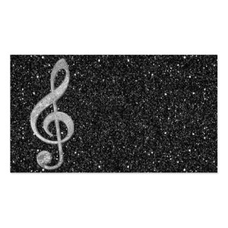 Cool silver glitter shining effects treble clef Double-Sided standard business cards (Pack of 100)