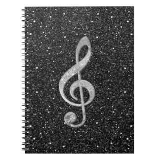 Cool silver glitter shining effects treble clef notebook