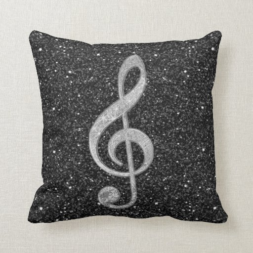 Cool silver glitter shining effects treble clef throw pillows