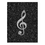 Cool silver glitter shining effects treble clef postcard