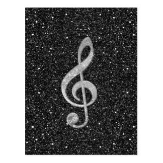 Cool silver glitter shining effects treble clef postcard