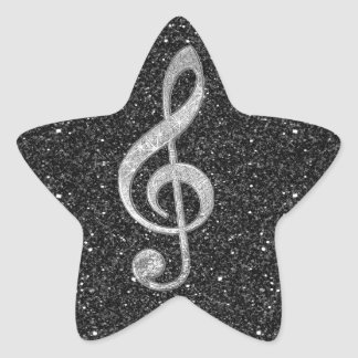 Cool silver glitter shining effects treble clef star sticker