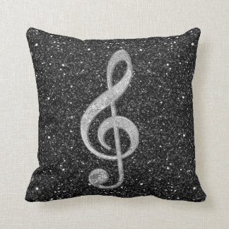 Cool silver glitter shining effects treble clef throw pillow
