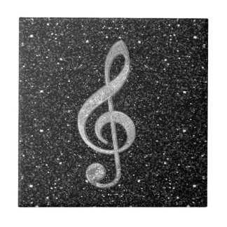 Cool silver glitter shining effects treble clef tile