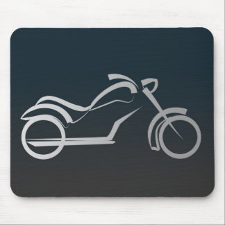 Cool Silver Motorcycle Frame on Black Mouse Pad