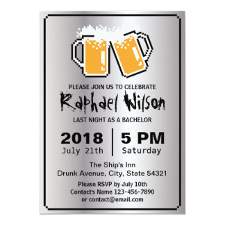 Cool Silver Pixel Beers Bachelor Party Card