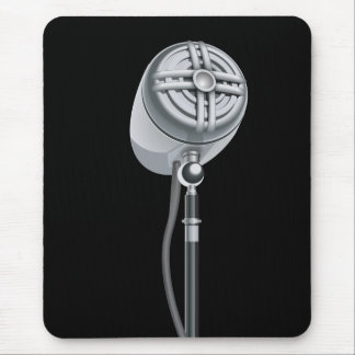 Cool Silver Retro Microphone Mouse Pad