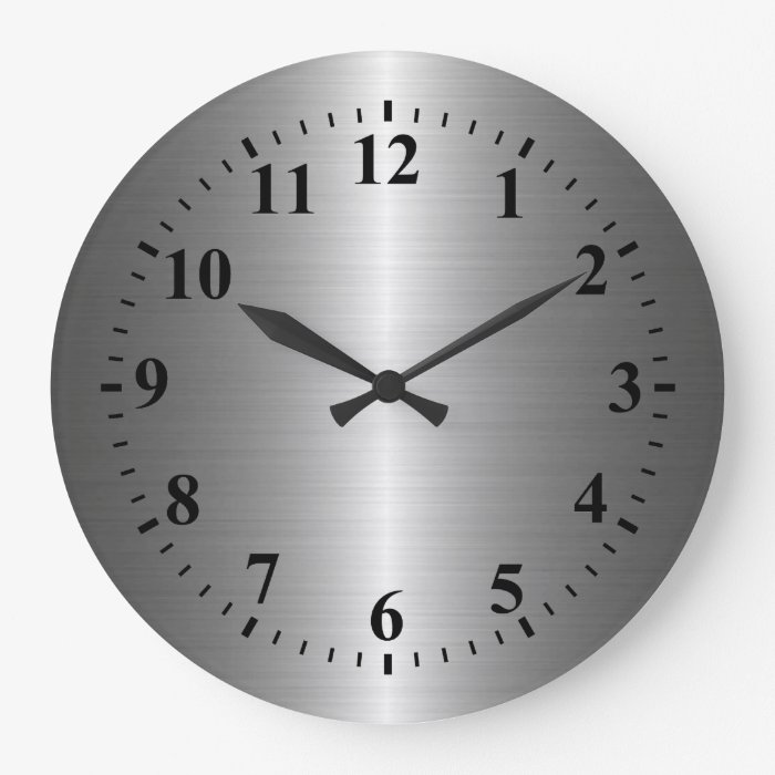 Cool Silver Stainless Steel Metal Large Clock Zazzle
