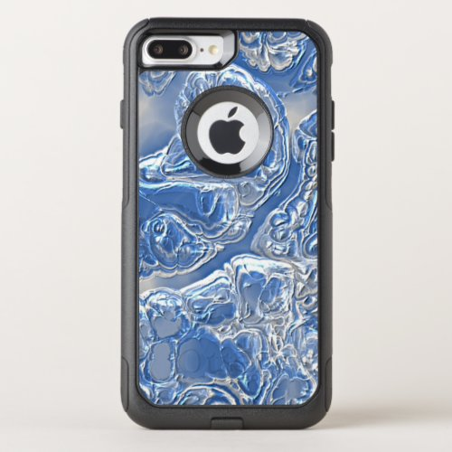 Cool Silver White Bright Blue Marble Art Pattern Phone Case