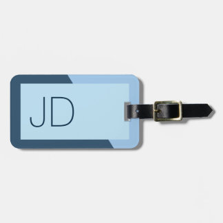 Cool Simple Blue Geometric Monogram Bag Tag