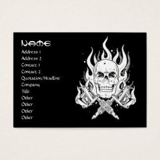 Cool simple elegant black white tribal skull tatto business card