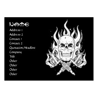Cool simple elegant black white tribal skull tatto large business cards (Pack of 100)