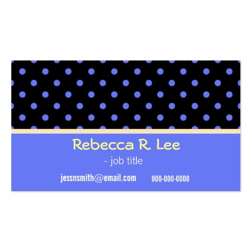 cool, simple, elegant blue polka dots business car business cards