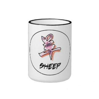 Cool Simple Elegant Chinese Zodiac Sign Sheep Ringer Coffee Mug