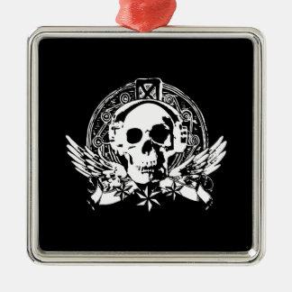 Cool Simple Elegant Classic Black White Skull Metal Ornament