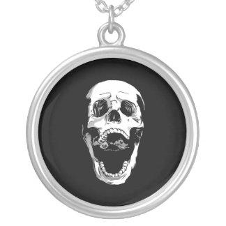 Cool Simple Elegant Classic Black White Skull Round Pendant Necklace